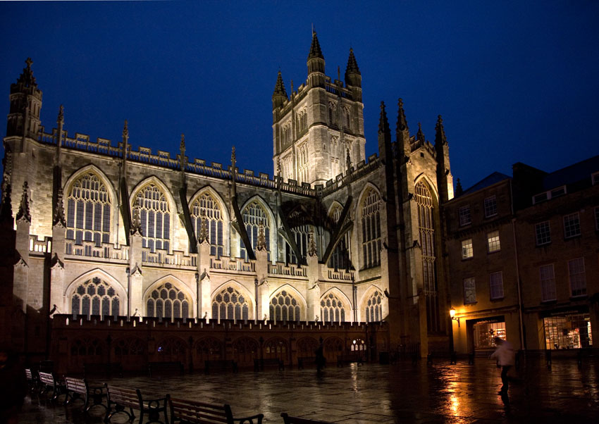 Bath Abbey At Night Somerset Guide Photos